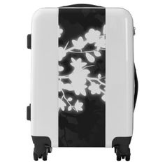 Black And White Cherry Blossom Luggage - black and white gifts unique special b&w style