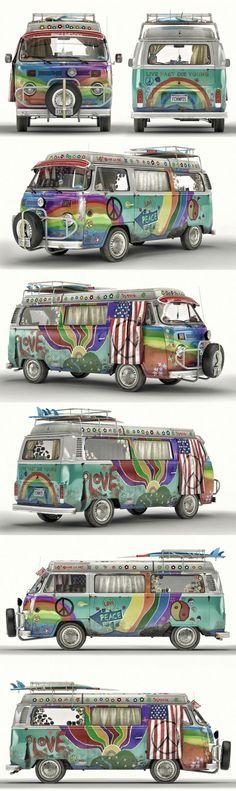 VW T2 Hippie Van by Artem Yuldashev 1600px X 5368px