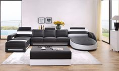 Divani Casa T337 Modern Black & White Bonded Leather Sectional Sofa
