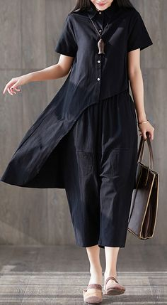 new fashion lapel asymmetric tops and harem pants black two pieces – SooLinen A Line Skirt Outfits, Dress Outfits, Fashion Dresses, Iranian Women Fashion, Black Women Fashion, Womens Fashion, Ladies Fashion, Urban Fashion, New Fashion