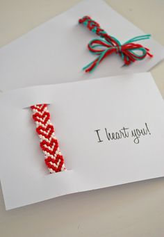 Great idea for giving Friendship Bracelets as Valentine's - put it in a card!  You can make these with friendship bracelets from ClamBoneBracelets.etsy.com