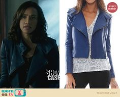 Tess's blue leather jacket on Beauty and the Beast. Outfit Details: http://wornontv.net/27236 #BATB #fashion