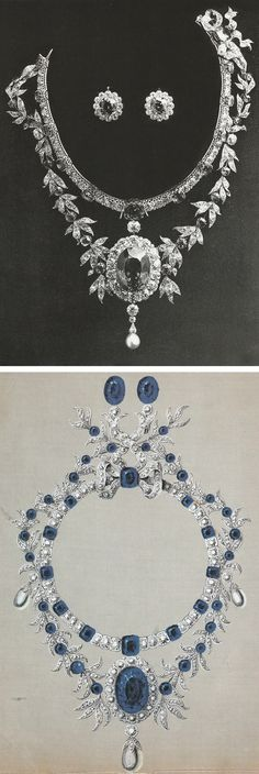 Boucheron - A Belle Epoque diamond and sapphire necklace decorated with an 159-carat sapphire, ordered by Mrs Mckay in 1878, and the gouache design. Source: Vincent Meylan, Boucheron, The Secret Archives