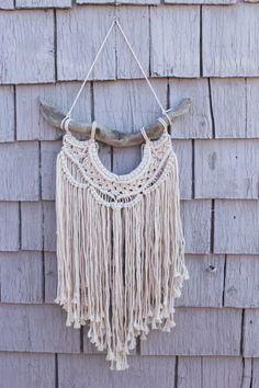 Macrame Wall Art  Driftwood Cotton rope off-white by #fallandFOUND