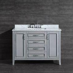 Daniel 48-inch Vanity in Grey with Carrera Marble Vanity Top - Overstock™ $1298