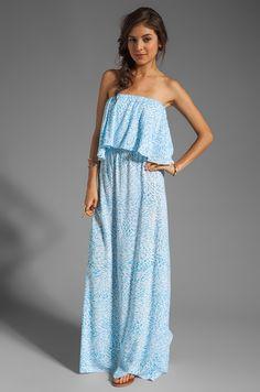 Indah Havi Strapless Tiered Maxi Dress en Padi Turquoise | REVOLVE