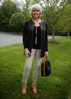 Shoes are Louise Et Cie @ Nordstrom, Jacket is Peter Nygard @ Dillard's, Black top is Tahari @ T.J. Maxx