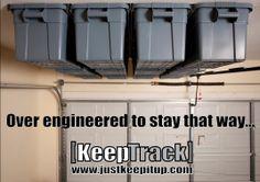 ANOTHER Garage Start-up? Keep Track Storage Solutions specializes in overhead… Overhead Garage Storage, Garage Storage Solutions, Garage Shelf, Garage Cabinets, Diy Garage, Garage Ideas, Household Organization, Garage Organization, Organization Ideas