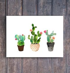 Wanddeko -  Kaktus Kaktus Kaktus Aquarell - ein Designerstück von suniwaco bei DaWanda #watercolorarts