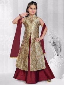 Shop Wedding wear maroon beige silk indo western online from India. Kids Salwar Kameez, Salwar Kameez Online, Salwar Suits, Wedding 2017, Wedding Wear, Fancy Suit, Stylish Suit, Kids Frocks, Festival Wear