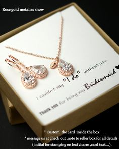 Rose gold blush Initial Necklace Jewelry Set clear Personalized Bridesmaid Gift Set Bridesmaid Necklace Bridal Jewelry Personalize Wedding