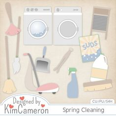 Spring Cleaning - Layered PSD Templates with PNG by Kim Cameron for Digital Scrapbooking #CUDigitals