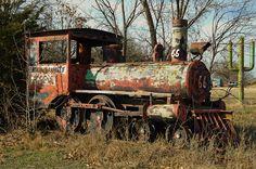 Photograph Abandoned Park Train RT 66 by Chris Daugherty on Abandoned Train, Abandoned Amusement Parks, Abandoned Buildings, Abandoned Houses, Abandoned Places, Train Car, Train Tracks, Chernobyl, Locomotive