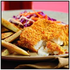 How to make Oven-Baked Fish and Chips. Step by step instructions to make Oven-Baked Fish and Chips . Oven Fried Fish, Fried Fish Recipes, Baked Fish, Seafood Recipes, Pasta Recipes, Breaded Fish Recipe, Bangers And Mash, Pub Food, How To Cook Fish