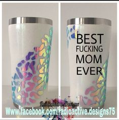 "Love the design of the opal vinyl, but not so much the ""f"" bomb. My mum LOVED it and those were her exact words Diy Tumblers, Custom Tumblers, Glitter Tumblers, Vinyl Crafts, Vinyl Projects, Shilouette Cameo, Tumblr Cup, Mom Tumbler, Yeti Cup"