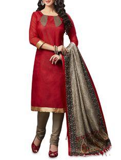Buy Apple Red Printed Jutth Silk Unstitched Suit Set Online, , LimeRoad