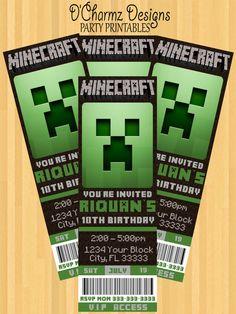 Preston's 7th birthday party- Minecraft Party Invitation (Ticket Style)