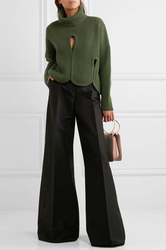 Antonio Berardi - Cutout Ribbed Wool And Cashmere-blend Turtleneck Sweater - Forest green - IT