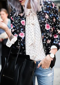 Mixing Prints - Floral & Dots  Fall Outfit Idea                                                                                                                                                                                 More