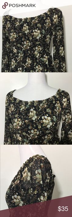 """WAYF EMMA Floral Off Shoulder Dress Sz. Small New WAYF Emma floral off shoulder long sleeve mini dress in women's size small. Please see pictures for full description.  Brand: WAYF Condition: New with tags Style: Emma  Sleeve Style: Long sleeves with elastic cuffs Size: Small Color: Black W/ allover floral print  Neckline: Straight elasticized neckline Closure: Concealed back zipper                                                         Measurements: Bust: 32"""" Length: 27"""" Pit-to-Cuff: 17.5…"""