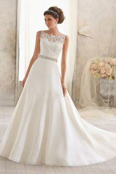 Vintage A Line Lace Bodice Wedding Dress | LynnBridal.com