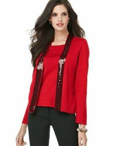Elementz Red Sweater, Long Sleeve Sequin Collar Layered Look Size 2X Elementz. $29.00