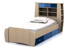 Sydney Single Cabin Bed - Blue and Maple - Boys Bed with Drawers and Storage Headboard