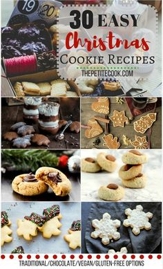 What's better than a hot chocolate and a batch of homemade cookies? Celebrate the holiday season with these must-try 30 Easy Christmas Cookie recipes! Healthy Vegan Snacks, Vegetarian Recipes Easy, Vegan Desserts, Xmas Desserts, Easy Recipes, Easy Christmas Cookie Recipes, Christmas Cookies, Galletas Cookies, Homemade Cookies