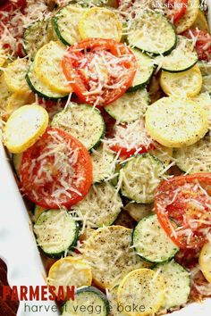 Terrific Parmesan Harvest Veggie Bake from Six Sisters' Stuff | This healthy and delicious vegetable recipe is fast and easy to throw together!  The post  Parmesan Harvest Veggie Bake from Six S ..