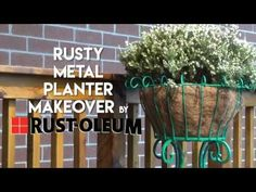Rust-Oleum's Stops Rust Gloss Jade Protective Enamel Brings New Life to a Rusty Metal Plant Stand