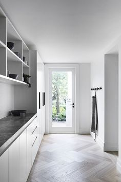 Hardworking, beautiful and easy to care for – timber flooring ticks a lot of boxes. From engineered, to laminate and solid timber flooring, here are 7 timber flooring colours to try. Mudroom Laundry Room, Laundry In Bathroom, Laundry Storage, Garage Storage, Küchen Design, House Design, Floor Design, Interior Design, Modern Laundry Rooms