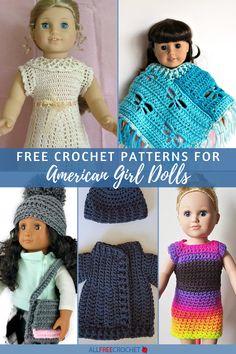 40+ Free Crochet Patterns for American Girl Dolls Crochet Barbie Patterns, Doll Patterns Free, Doll Dress Patterns, American Girl Crochet, My American Girl Doll, Yarn Crafts For Kids, All Free Crochet, Crochet For Beginners, Chrochet