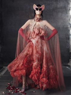 Alexander McQueen S/S 2012, Laura Kampman by Steven Meisel in 'Keep'n it Surreal' for Vogue Italia February 2012