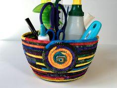 Coiled Rope Sewing Room Organizer , Exta Large Clothesline Basket , Jewel Tone Hand Dyed Fiber , Handmade Homemade Fiber Art, Sally Manke by SallyManke on Etsy
