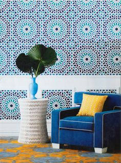 Moroccan inspired zellige wall paper. This should make your eyes hurt...
