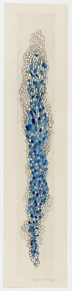 Swaying by Louise Bourgeois, 2006. Etching, ink, watercolour and pencil on paper, 149.5 x 33.9 cm