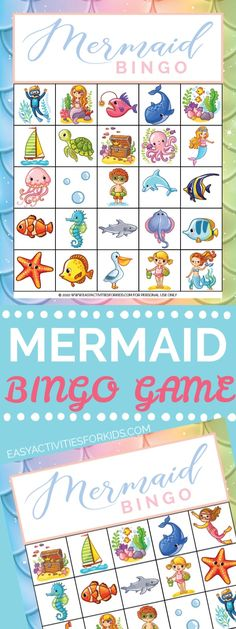 Super fun and FREE printable mermaid bingo cards! Such a perfect game for a mermaid birthday party, family game night, class parties or pool party! Creative Activities For Kids, Printable Activities For Kids, Preschool Activities, Free Printables, Crafts For Kids, Kindergarten Worksheets, Bingo Games For Kids, Free Bingo Cards, Mermaid Birthday