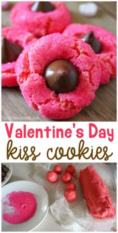 Make some pink kiss cookies! Almost like PB blossoms but with a Valentine& . Make some pink kiss cookies! Almost like PB blossoms but with a Valentine& Day twist! Valentines day dessert treat idea for the kids. Valentine Desserts, Valentines Day Cookies, Mini Desserts, Valentine Day Kiss, Valentines Baking, Kinder Valentines, Valentines Day Dinner, Valentine Treats, Valentines Day Decorations