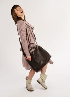 """Brown Leather Crossbody Tote Bag """"Michelle Brown"""", Oversized Shopping Bag, Handmade Tote, Women Laptop Bag"""