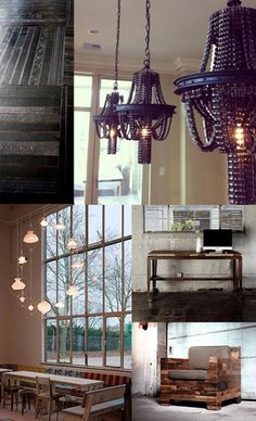 design: reuse and environmental protection | Home & Delicious--the chandeliers are hung with bicycle chains