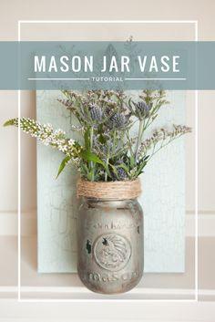 DIY Mason Jar Hanging Vase #DIY #furniturepaint #paintedfurniture #chalkpaint #masonjar #wildflowers #sconce #crackle #shabbychic #homedecor #howto #video #countrychicpaint - blog.countrychicpaint.com