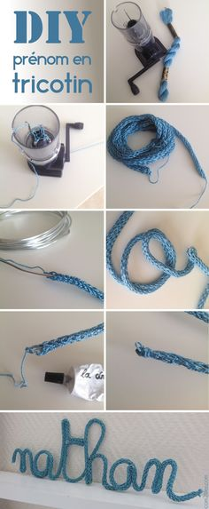 Geschenk - tuto prenom en tricotin diy Après tant d'années enfin un truc mignon en tr. Diy Projects To Try, Sewing Projects, Spool Knitting, Baby Knitting, Do It Yourself Inspiration, Diy Bebe, Lucet, Crochet Diy, Crochet Rope