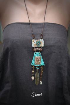 Statement Tribal Necklace Rustic Long Necklace ethnic Boho Necklace Gift for Her Rustic Tribal Pendant Shamanic Necklace Bohemian Jewelry by Lelandjewelry on Etsy