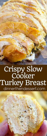 Crispy Slow Cooker Turkey Breast - Dinner, then Dessert Crispy Slow Cooker Turkey Breast takes all the effort and guesswork out of preparing healthy turkey breast and is perfect sliced thinly in sandwiches. Never pay for turkey deli meat again! Crock Pot Recipes, Crockpot Dishes, Turkey Recipes, Fall Recipes, Cooking Recipes, Crockpot Meals, Meat Recipes, Holiday Recipes, Chicken Recipes