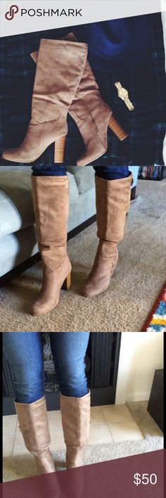 TAUPE BOOTS! Super cute taupe knee high boots! Shoes Heeled Boots