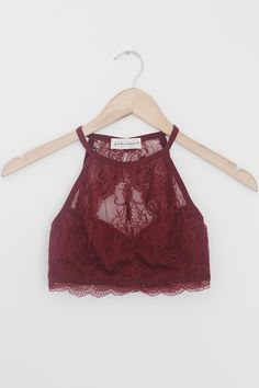 """Details Size Shipping • 10% Spandex 90% Nylon • Keyhole lace halter bralette • Hand Wash • Line dry • Imported • Measured from small • Length 10.5"""" • Chest 12"""""""