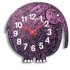 Vitra Eluhi the Elephant Zoo Clock: The zoo timers (1965) by George Nelson – wall clocks by Vitra in the form of colourfully rendered personalities from the animal kingdom.