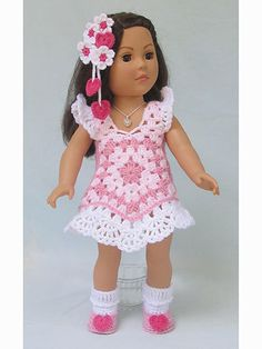 Crochet Dolls Clothes Paid and Free Crochet Patterns for Dolls Like the American Girl Doll - Paid and Free Crochet Patterns for Dolls Like the American Girl Doll for every season. Costumes, gowns, summer attire and more. American Girl Crochet, American Girl Dress, American Doll Clothes, Ag Doll Clothes, Doll Clothes Patterns, Doll Patterns, American Girls, Dress Patterns, Crochet Doll Dress