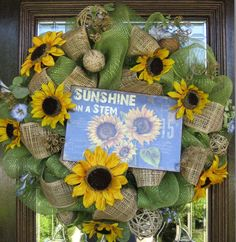 summer wreaths | Deco Mesh SUNSHINE and SUNFLOWERS SUMMER Wreath or Mother's Day Wreath