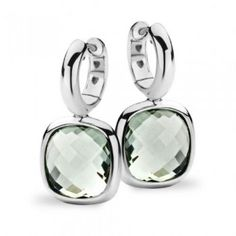 Tirisi Jewelry | Earrings white gold with green amethyst. Shop this beach look on Miss Ibink
